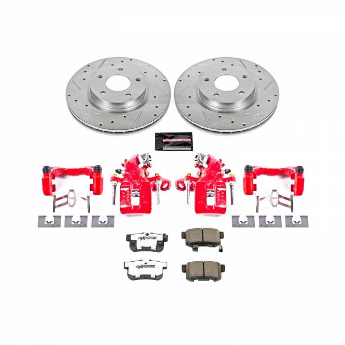 Power Stop - Z26 Extreme Street Warrior 1-Click Brake Kit w/Powder Coated Calipers | Power Stop (KC3128A-26)