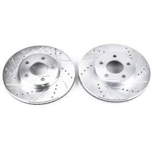Brakes - Disc Brake Rotor Set - Power Stop - Evolution Performance Drilled/Slotted/Plated Brake Rotor Set | Power Stop (AR82004XPR)