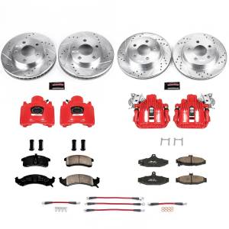 Brakes - Disc Brake Caliper/Rotor/Pad/Hose Kit - Power Stop - Z23 Evolution Sport Performance 1-Click Brake Kit w/Calipers And Hoses | Power Stop (KCH11128)