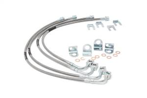 Brakes - Brake Hydraulic Line Kit - Rough Country - Stainless Steel Brake Lines | Rough Country (89716)